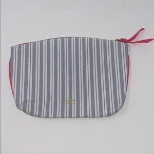 Ipsy Striped Cosmetic Makeup Bag Blue/White
